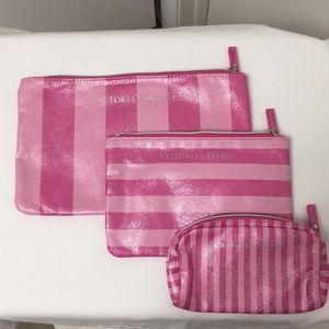 SET of 3 Victoria's Secret Cosmetic Bags NEW